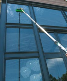 using a water fed pole for window cleaning in London
